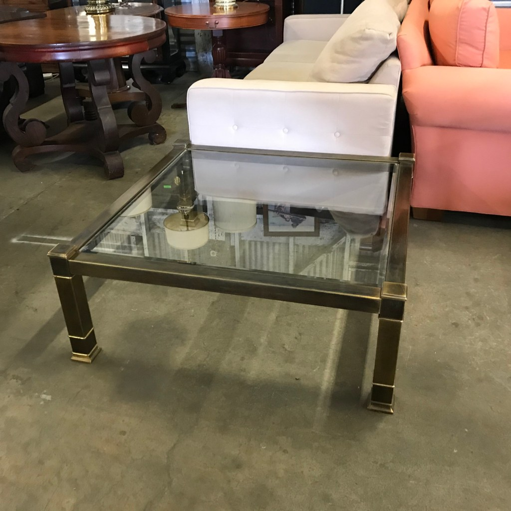 Glass brass square table coffee
