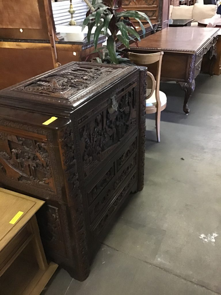 asian carved trunk drawers