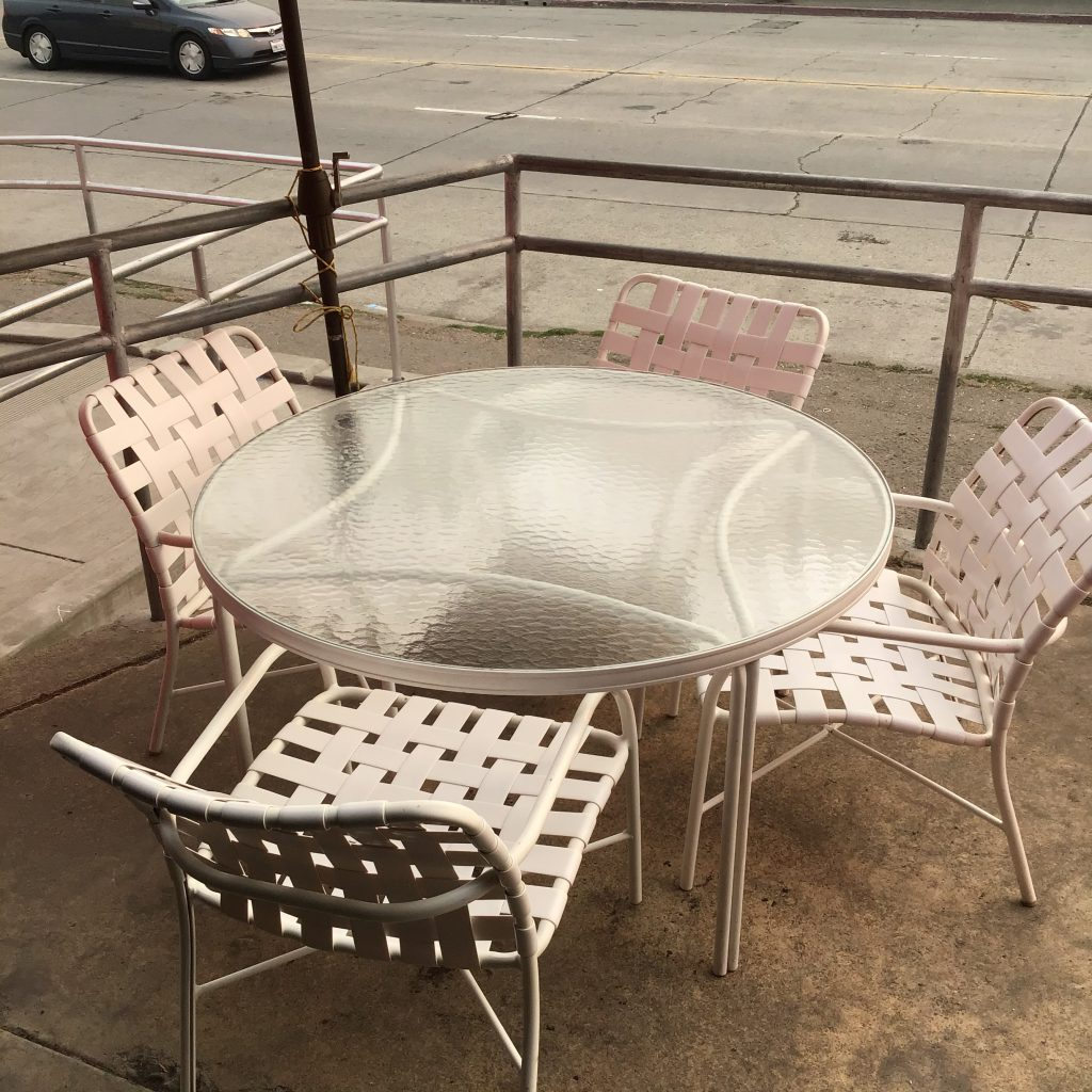 Vintage patio seats table outdoor dining