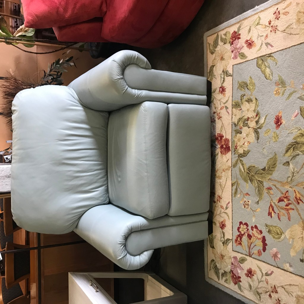 Leather, recliner, chair, aqua