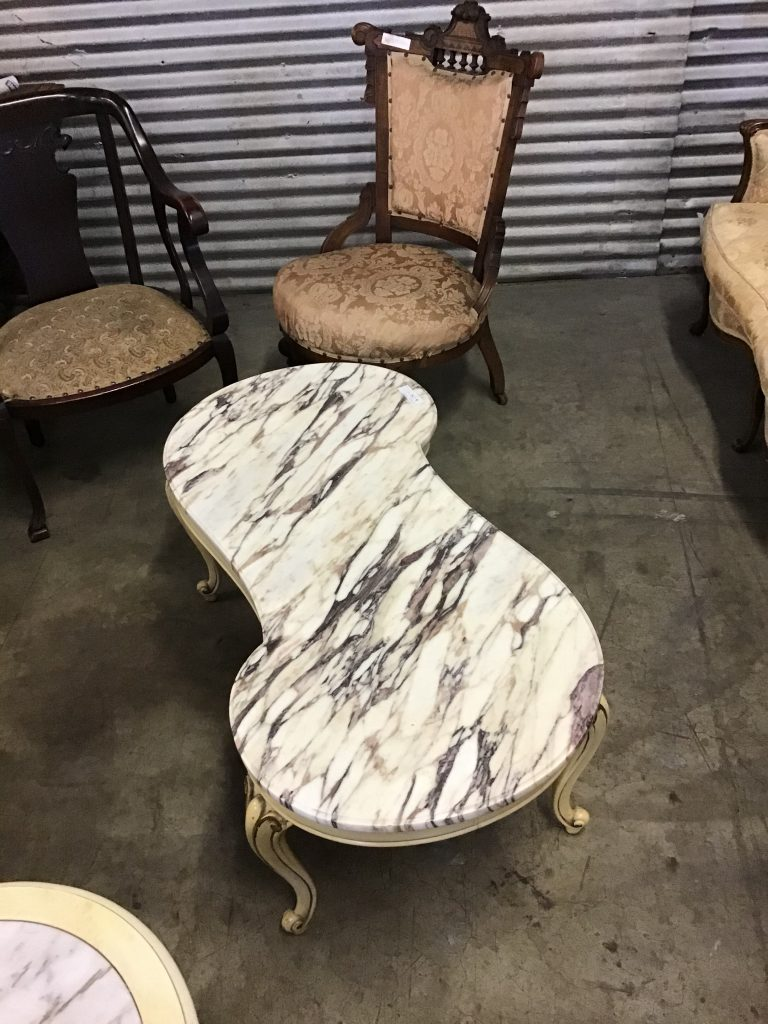 coffee table, marble top, french provincial
